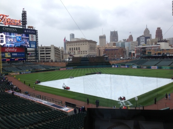 Tarp on Field Detroit